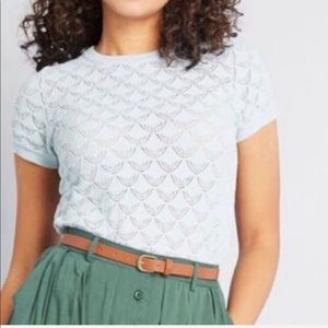 Modcloth Blue sheer knit short sleeve top Lg (C5)